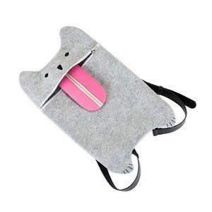 TrueZoo Bags - NWOT Grey Felt Cat Backpack Crossbody Bag